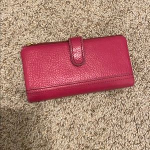 Vibrant Pink Fossil Wallet